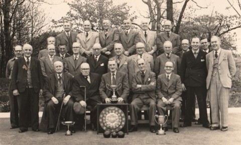 Cross Scythes Bowling Club; Maurice Johnson second from the right, front row, arms folded.