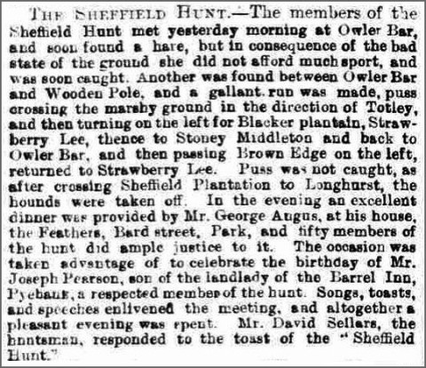 Report of the Sheffield Harriers hunt of February 1877