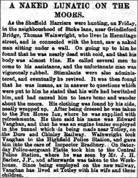 Extract from Sheffield Independent, 6 January 1890
