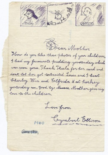 Letter A. Cymbert Ellison to his mother, Constance