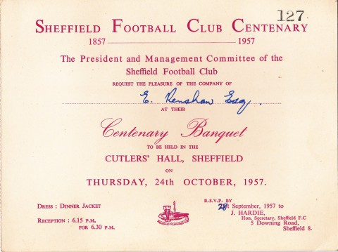 Sheffield Football Club Centenary invitation