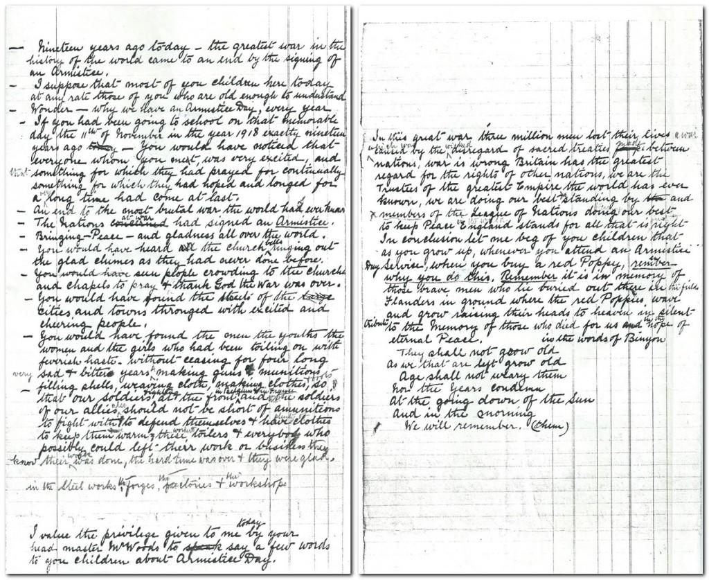 James Gledhill's Armistice Day talk. 1937