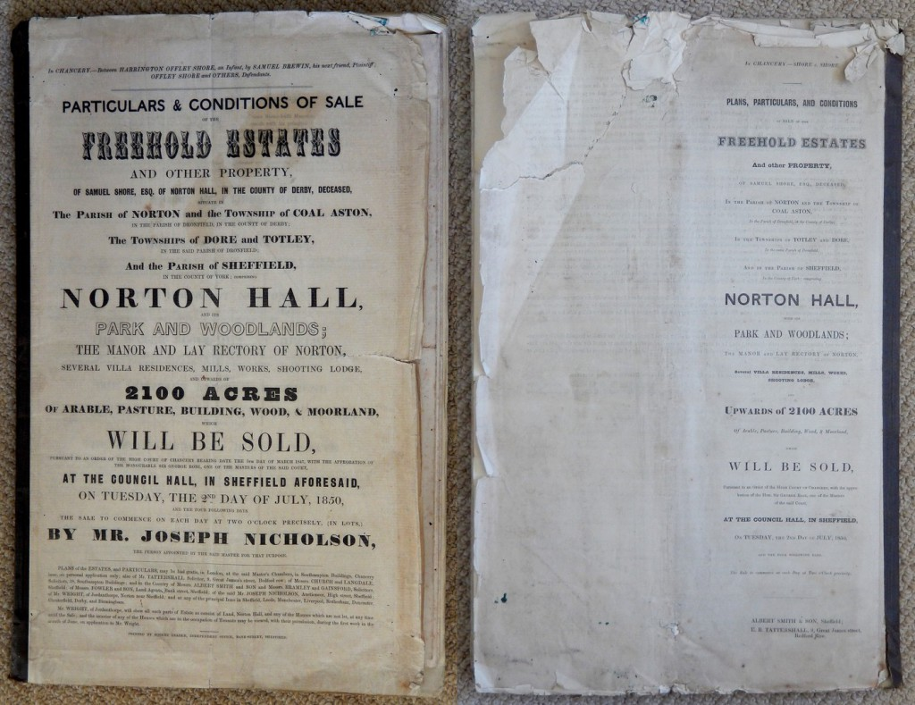 Norton Hall Estates sale document, 1850