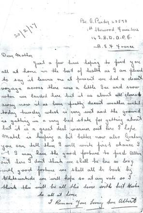 Albert Pinder's letter 20 February 1917