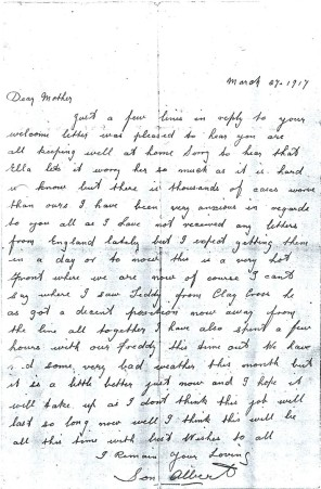 Albert Pinder's letter 27 March 1917