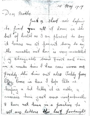 Albert Pinder's letter 15 May 1917 page 1