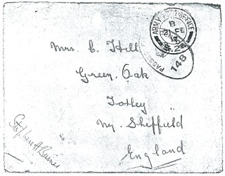 Albert Pinder envelope 21 Feb 1917