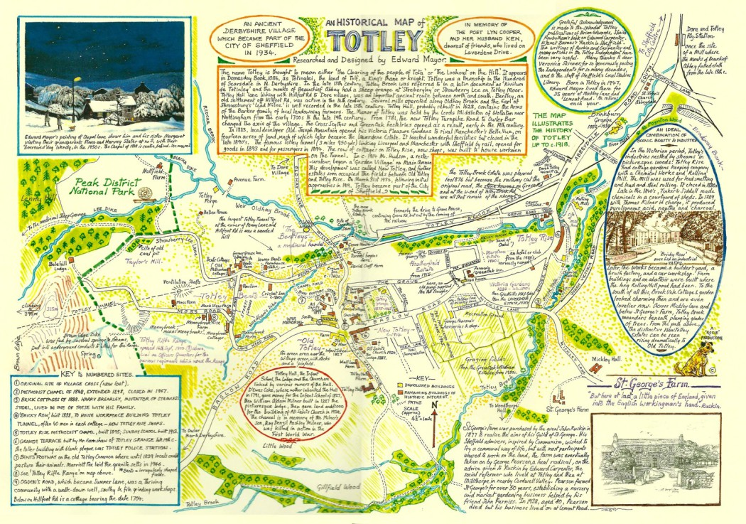An historical map of Totley drawn by Totley-born artist Edward Mayor