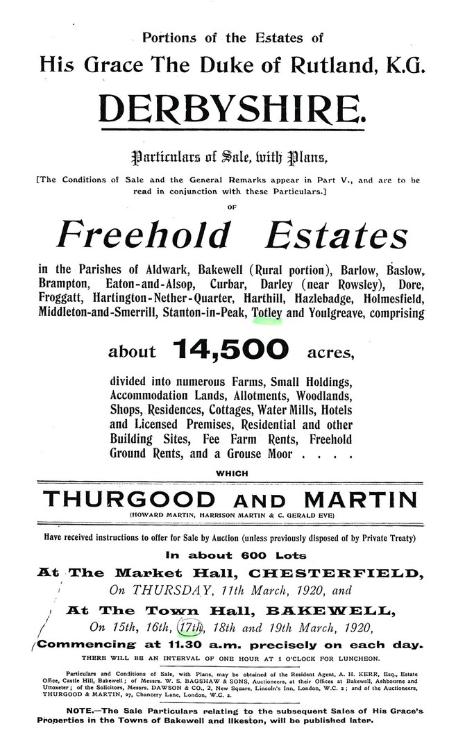 Duke of Rutland estates sale, 15-19 March 1920