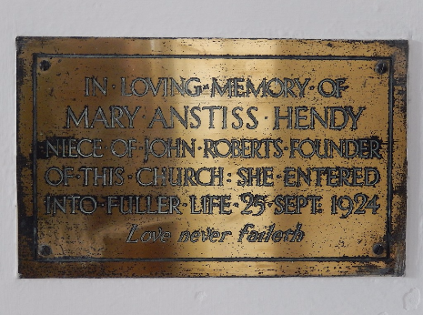 Mary Anstiss Hendy memorial, Church of St. John the Evangelist, Abbeydale