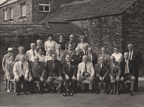 Cross Scythes Bowling Club; Maurice Johnson second from the right, front row, holding cap.