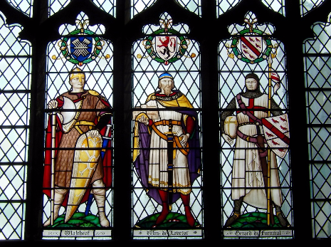 Six Worthies Window : Waltheof, William de Lovetot, Gerard de Furnival