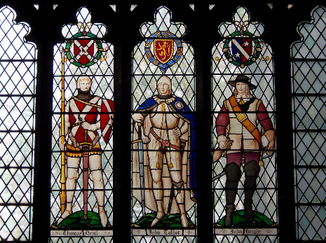 Six Worthies Window: Thomas Nevil, John Talbot, Colonel Sir John Bright