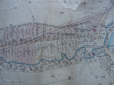 Totley Brook Estate allotment plan 1876, eastern part