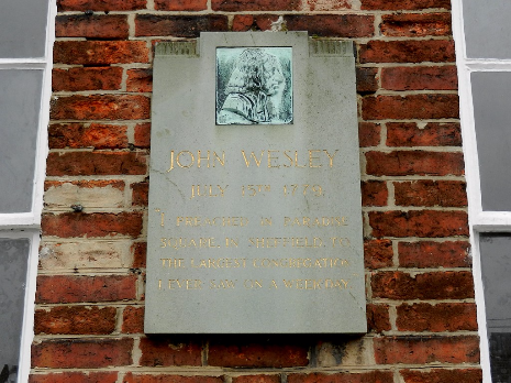 Plaque commemorating the visit of John Wesley on 15 July 1779, Paradise Square, Sheffield