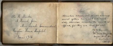 Pte. Harold Starke's autograph book