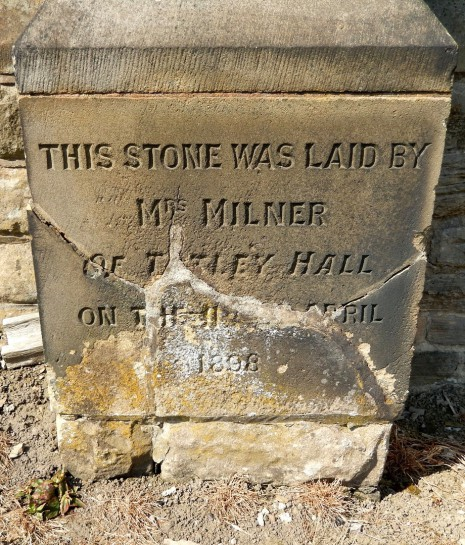 Foundation stone laid by Mrs Milner, 1898