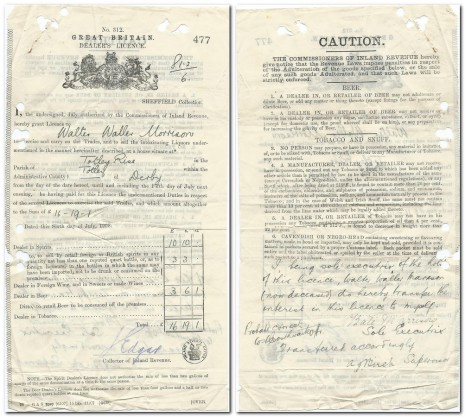 Insert an image caption here. Walter Waller Marrison Dealer's Licence 6 Jul 1908 endorsed by his widow