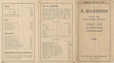 Kate Marrison Price List 1 Jul 1916 page 1