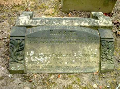 Grave of John Edward Greenwood Pinder, his wife Jane and sister-in-law Harriett Gell