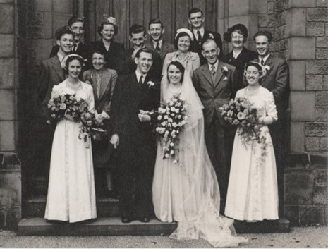 Wedding of Maurice Johnson junior and Trixie Bright, 1951