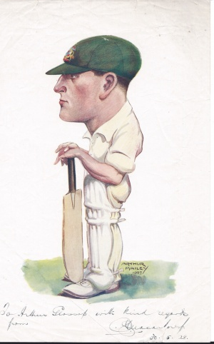 Charlie Macartney, drawn by Arthur Mailey, 1927
