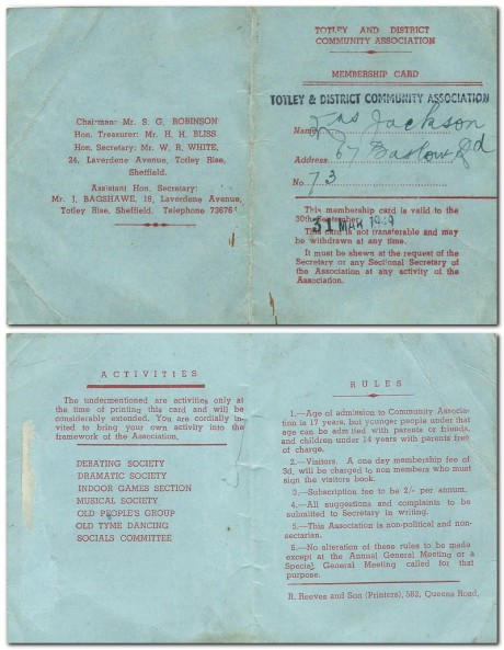 Totley & District Community Association Membership Card 1949