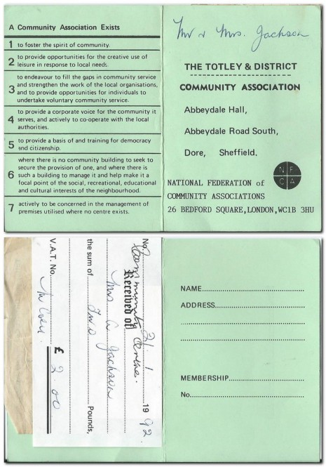 Totley & District Community Association Membership Card 1992