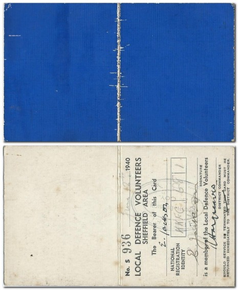 Local Defence Volunteers Identity Card 1940