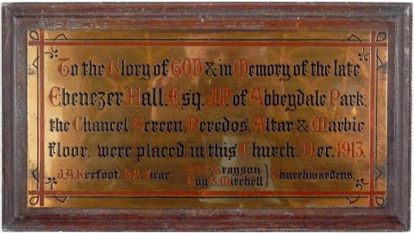 Plaque in the Church of St. John the Baptist, Abbeydale.