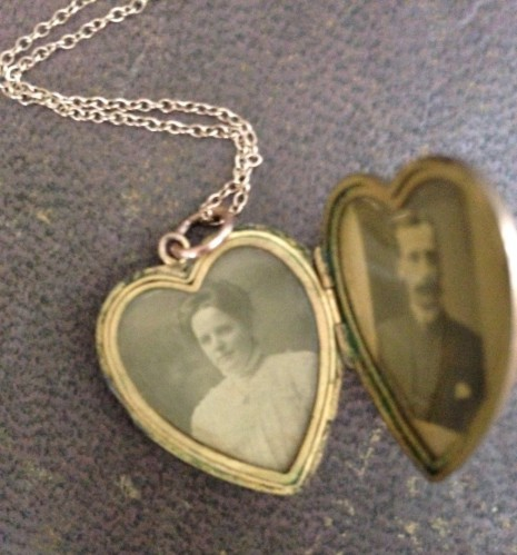 Locket with photos of Mabel and Septimus Gale