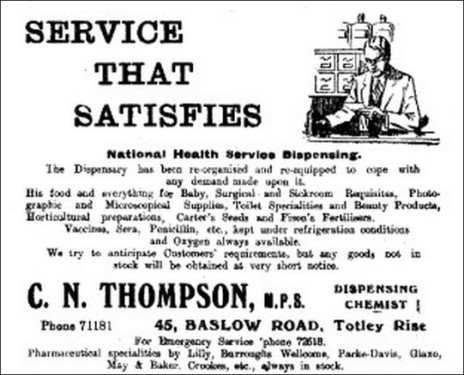 Advertisement in Totley All Saints' Parish Magazine, 1948.
