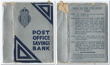 Post Office Savings Bank Home Safe cover, approx  4¾ x 3¼ x  ¾ inches (12 x 8 x 2.1cm)