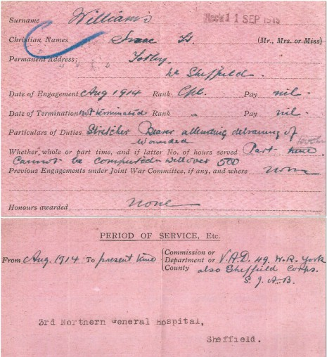 British Red Cross WW1 personnel record