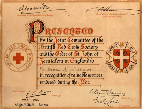 Certificate presented to Isaac Henry Williams