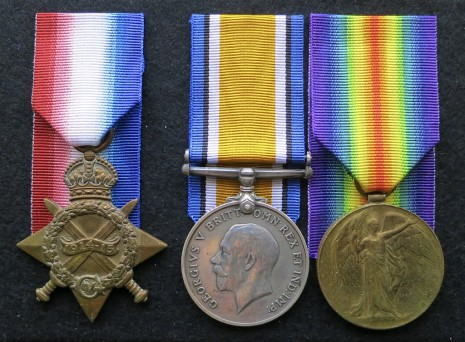 Charles Herbert Nunn's British Campaign Medals (L/R): 1914-15 Star, British War Medal and Victory Medal.