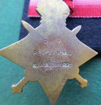 Charles Herbert Nunn's 1914-15 Star, reverse (Photo: Chris Emsley)