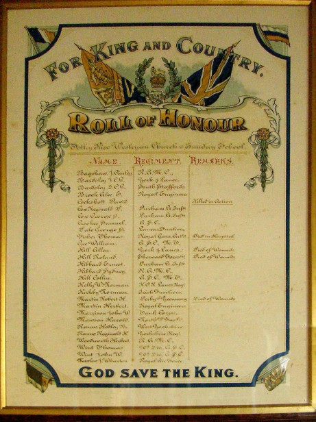 Roll of Honour, Totley Rise Methodist Church