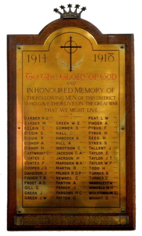 Dore Christ Church WW1 brass plaque