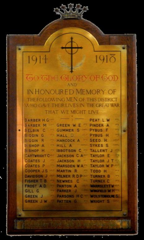 Dore Christ Church WW1 brass plaque
