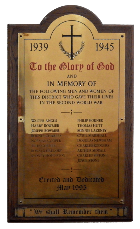 Dore Christ Church WW2 brass plaque