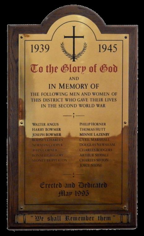 Dore Christ Church WW2 brass plaque