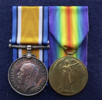 Ernest Alderson's Medals l/r: British War Medal, Victory Medal (Courtesy of Chris Emsley)