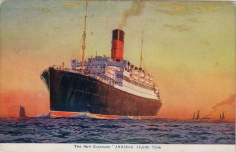 Cunard Line  Andania, built in 1921 on Tyneside by  Hawthorn Leslie and Company.