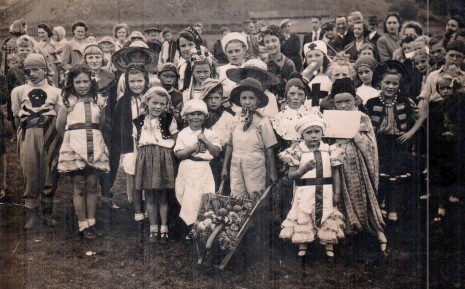 Totley All Saints School party on the school field, 1945