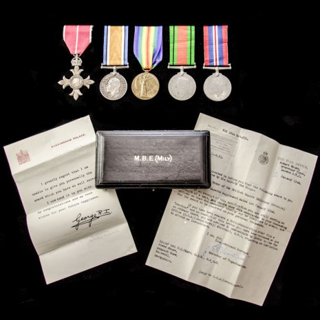 Walter Rippon Stubbs' medals and M.B.E.