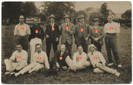 Photograph 1. Batting team. Cecil Inman is number 3.