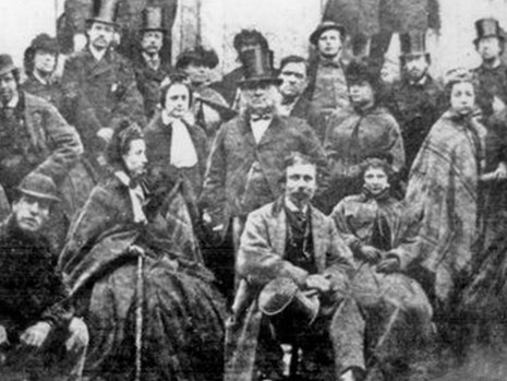 Thomas Youdan (centre in tall hat) and theatre company, 1865