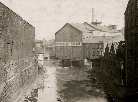 Alexandra Theatre, rear built over River Sheaf at its confluence with River Don.
