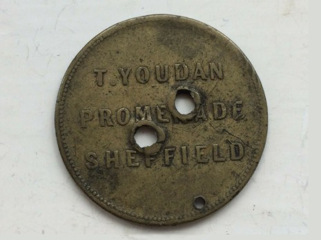 T. Youdan, Promenade, Sheffield token approx 1¼ inches (32 mm) in diameter.